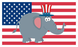 Republican Elephant Cartoon Character With Uncle Sam Hat Over USA Flag Royalty Free Stock Photography