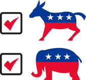 Republican Elephant Democrat Donkey Stock Image