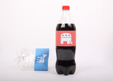 Republican Elephant and Democrat Donkey on the drink bottles Royalty Free Stock Photos
