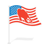 Republican elephant Flag. National flag of presidential election Royalty Free Stock Images