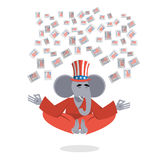 Republican Elephant hat Uncle Sam meditating votes in elections. Stock Photos