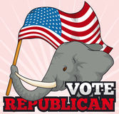 Republican Elephant Holding a American Waving Flag, Vector Illustration Royalty Free Stock Photos
