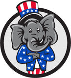 Republican Elephant Mascot Arms Crossed Circle Cartoon. Illustration of an American Republican GOP elephant mascot arms crossed wearing usa stars and stripes top Stock Images
