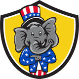 Republican Elephant Mascot Arms Crossed Shield Cartoon. Illustration of an American Republican GOP elephant mascot arms crossed wearing usa stars and stripes top Stock Photography