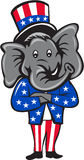 Republican Elephant Mascot Arms Crossed Standing Cartoon. Illustration of an American Republican GOP elephant mascot standing and arms crossed wearing usa stars Royalty Free Stock Photography