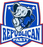 Republican Elephant Mascot Boxer Shield Stock Image