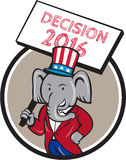 Republican Elephant Mascot Decision 2016 Circle Cartoon. Illustration of an American Republican GOP elephant mascot wearing suit and stars and stripes hat Stock Photo