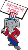 Republican Elephant Mascot Decision 2016 Placard Cartoon. Illustration of an American Republican GOP elephant mascot standing wearing suit and stars and stripes Stock Images