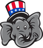 Republican Elephant Mascot Head Top Hat Cartoon. Illustration of an American Republican GOP elephant mascot head wearing usa stars and stripes top hat viewed Royalty Free Stock Photography