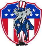 Republican Elephant Mascot Thumbs Up USA Flag. Illustration of a republican elephant mascot of the republican grand old party gop wearing hat and suit thumbs up Royalty Free Stock Image