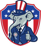 Republican Elephant Mascot Thumbs Up USA Flag Cartoon Stock Image