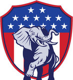 Republican Elephant Mascot USA Flag stock illustration