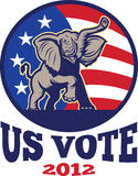 Republican Elephant Mascot USA Flag. Illustration of a republican elephant mascot with American USA stars and stripes flag done in retro style with words us vote Stock Photos