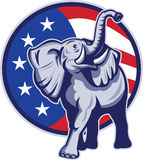 Republican Elephant Mascot USA Flag. Illustration of a republican elephant mascot with American USA stars and stripes flag circle done in retro style Stock Photo