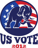 Republican Elephant Mascot USA Flag. Illustration of a republican elephant mascot with American USA stars and stripes flag done in retro style with words us vote Stock Image