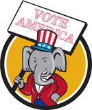 Republican Elephant Mascot Vote America Circle Cartoon. Illustration of an American Republican GOP elephant mascot wearing suit and stars and stripes hat holding Stock Photo