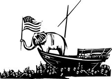 Republican Elephant and Sea of Refugees Stock Photo