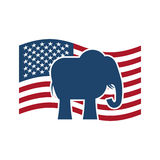 Republican elephant and  US flag. Political Party America Stock Images