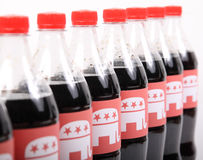 Republican Elephants on the drink bottles. TEXAS, AUSTIN - DECEMBER 2, 2016: Republican Elephants on the bottles isolated on white. The illustration of winning Royalty Free Stock Image