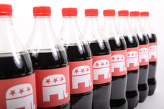 Republican Elephants. TEXAS, AUSTIN - DECEMBER 2, 2016: Republican Elephants on the bottles isolated on white. The illustration of winning Republican party for Stock Photography