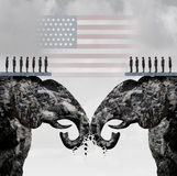 Republican Fight. Concept as two mountain cliffs shaped as an elephant symbol clashing head to head damaging the party as an American political nomination Stock Images