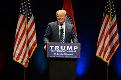 Republican Frontrunner Donald Trump Smiles to Crowd Stock Photos