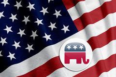 Republican Logo on American Flag Royalty Free Stock Image