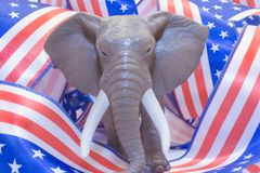Republican Mascot. A Republican Mascot with usa flag royalty free stock image
