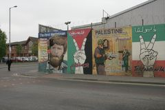 Republican murals in Divis Street, Belfast Stock Image