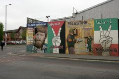 Republican murals in Divis Street, Belfast Stock Photo