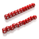 Red dice spelling the Republicans Stock Photography