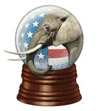 Republican Snow Globe. Digital illustration of a snow globe containing stars and stripes and an elephant to represent the Republican party Stock Photography