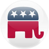 Republican Square Button Stock Photo