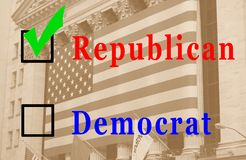 Republican Vote. A box checked republican with a flag on a building in the background Stock Photo