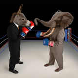 Republican vs. Democrat. US Republican and Democrat mascots represented by a donkey and an elephant face off in a boxing ring in business suits with red white Stock Image