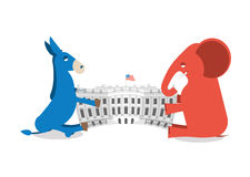 Republicans and Democrats share authority. Elephant and Donkey Stock Photos