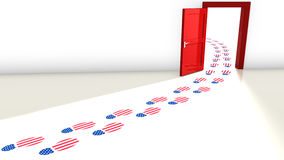 The republicans win the election door concept. 3D illustration of the election in the USA with a red open door for the republicans and and a track of footsteps Royalty Free Stock Photography