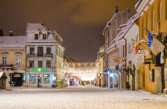 Free Republicii Street And Sfatului Square In Brasov City Transylvania Region Of Romania During Winter Royalty Free Stock Photo - 48903025