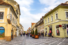 Republicii Street in Brasov city Stock Photography