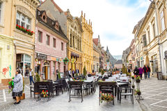 Republicii Street in Brasov city Royalty Free Stock Photos