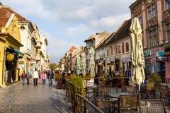 Republicii Street in Brasov city Royalty Free Stock Photo