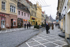 Republicii street from Brasov city Royalty Free Stock Images