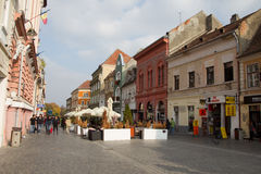 Republicii Street in Brasov city Stock Image