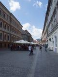 Republicii street in Brasov, Romania royalty free stock image
