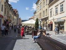 Republicii street in Brasov, Romania royalty free stock photo