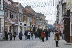 Republiciistraat van Brasov-stad Royalty-vrije Stock Afbeelding