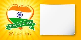Republiek Dag Idia, 26 Januari-groetbanner Royalty-vrije Stock Foto