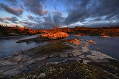 Republiek het meer van Kareli?, Ladoga stock afbeeldingen