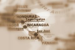 Republiek Nicaragua - conflict map. Sepia selective focus Royalty Free Stock Images