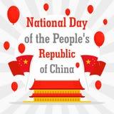 Republiek van achtergrond van het de dagconcept van China de nationale, vlakke stijl royalty-vrije illustratie